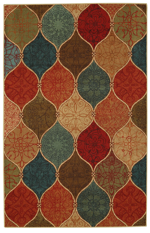 Mohawk Home Soho Riza Tile Fret Ogee Printed Area Rug, 7'6x10', Multicolor
