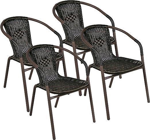 Juego de 4 Bistro – Silla apilable poly rattan Silla de jardín silla de terraza: Amazon.es: Jardín
