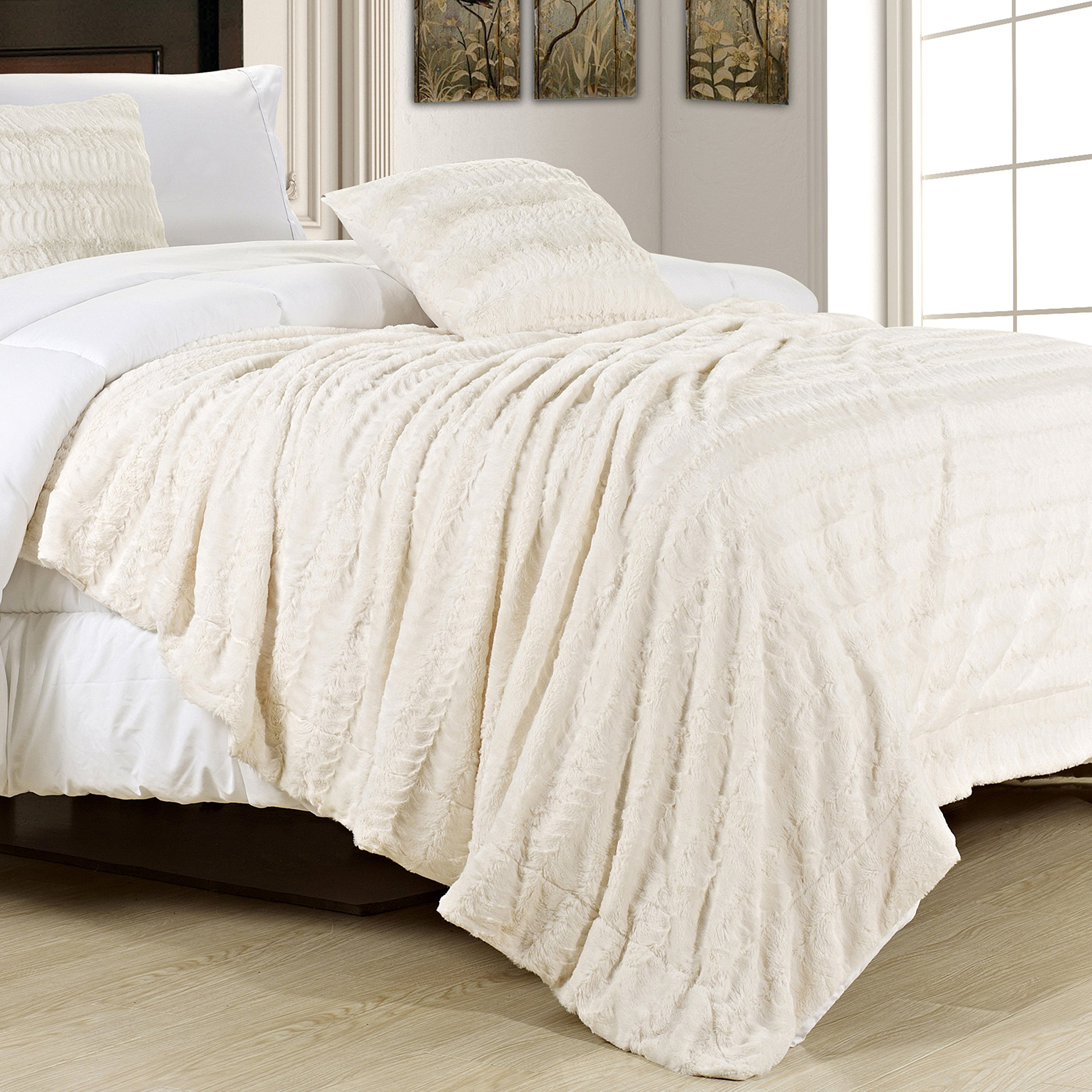Swift Home Embossed Faux Fur Throw Blanket & Bedspread - Luxurious Over-sized Faux Fur Bed Throw Blanket-King, 108'' x 86'', Cream