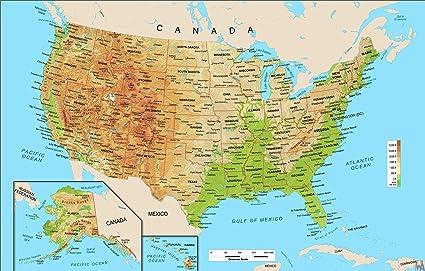 Amazon Com Home Comforts Laminated Map Mountain Map The Usa