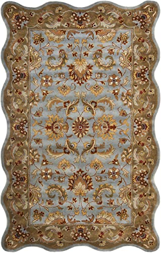 Safavieh Heritage Collection HG822A Handcrafted Traditional Oriental Blue and Beige Wool Scallop Area Rug 4 x 6