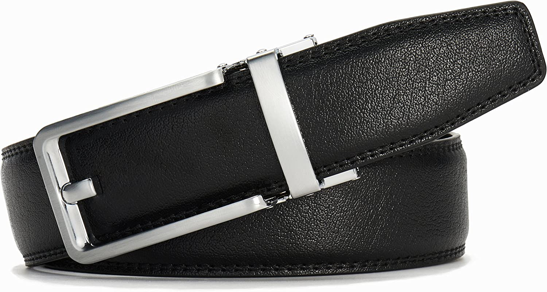 Click Ratchet Belt Dress with Sliding Buckle 1 3//8 Adjustable Trim to Exact Fit
