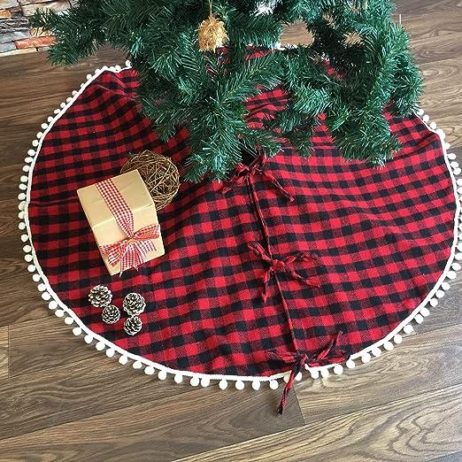 Deggodech 122cm Falda de árbol Navidad Rojo y Negro Celosía con ...