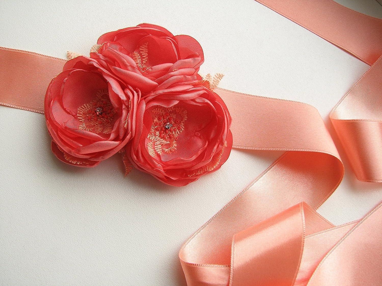 Coral wedding sash, Bridal belt, Bridesmaid dress sash