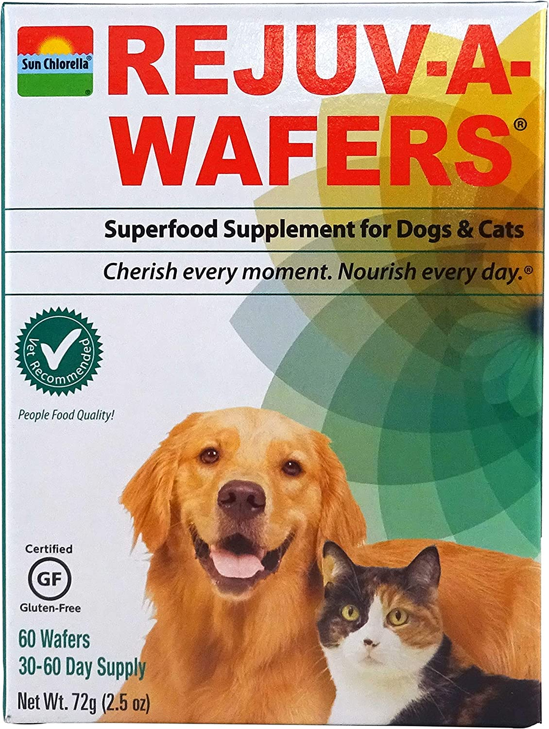 Sun Chlorella- Rejuv-A-Wafers- Chlorella & Eleuthero Superfood Supplement for Dogs and Cats (60 Wafers)