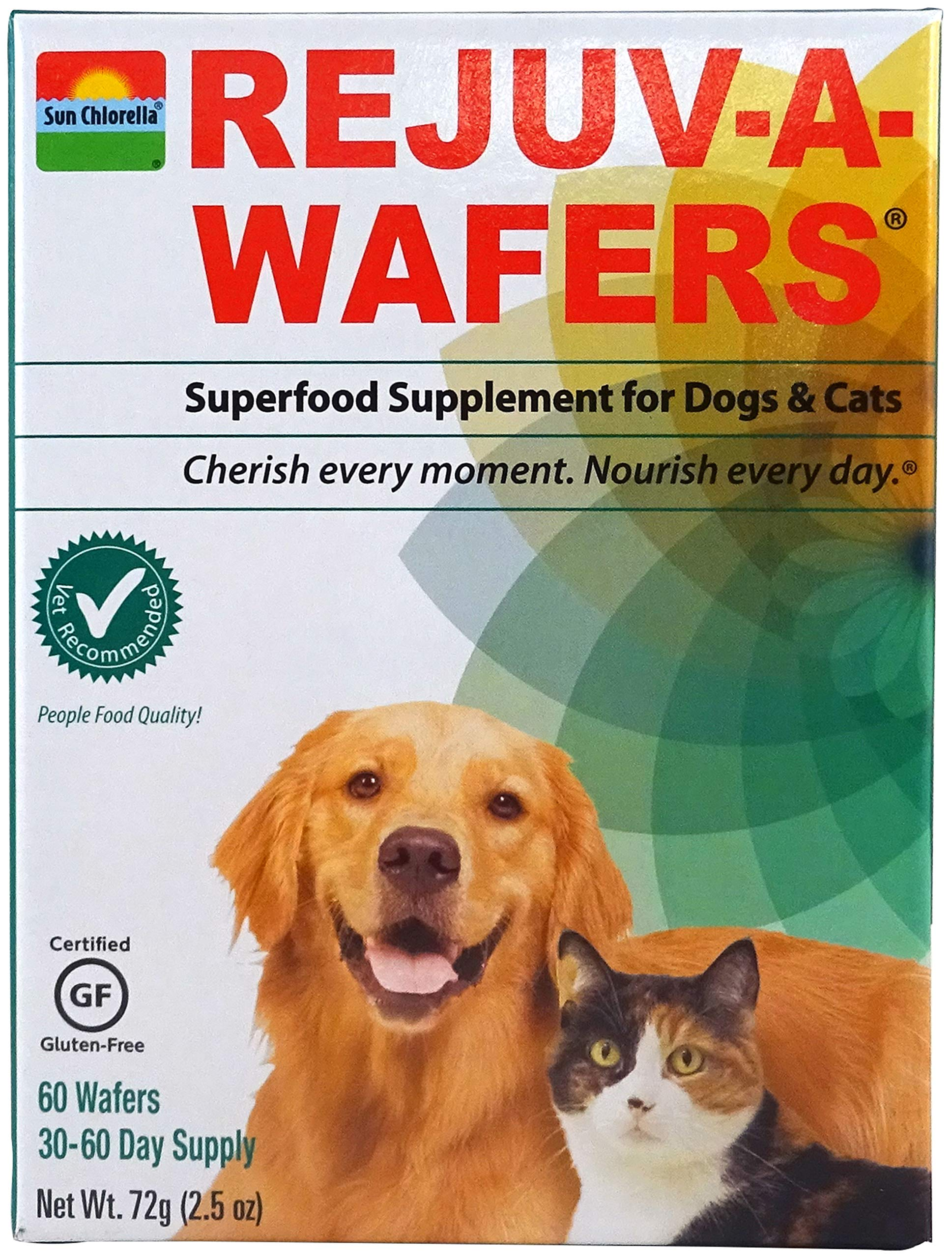 Sun Chlorella- Rejuv-A-Wafers- Chlorella & Eleuthero Superfood Supplement For Dogs And Cats (60 Wafers) (Rejuv-A-Wafers Single Wafers) by Sun Chlorella