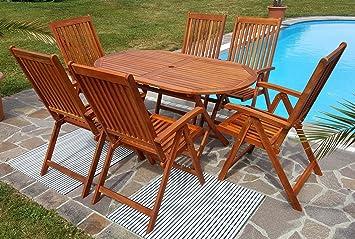 Gartengarnitur Tisch 150x85cm Mit 6 Hochlehner 7fach Verstellbar LIMA  Eukalyptus Hartholz Wie Teak