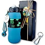 ZZ W600-G 可折叠硅胶水瓶,学生水瓶,户外水瓶,便携式轻质,*食品级,不含双酚 A,经 FDA 批准,21 盎司。 绿色