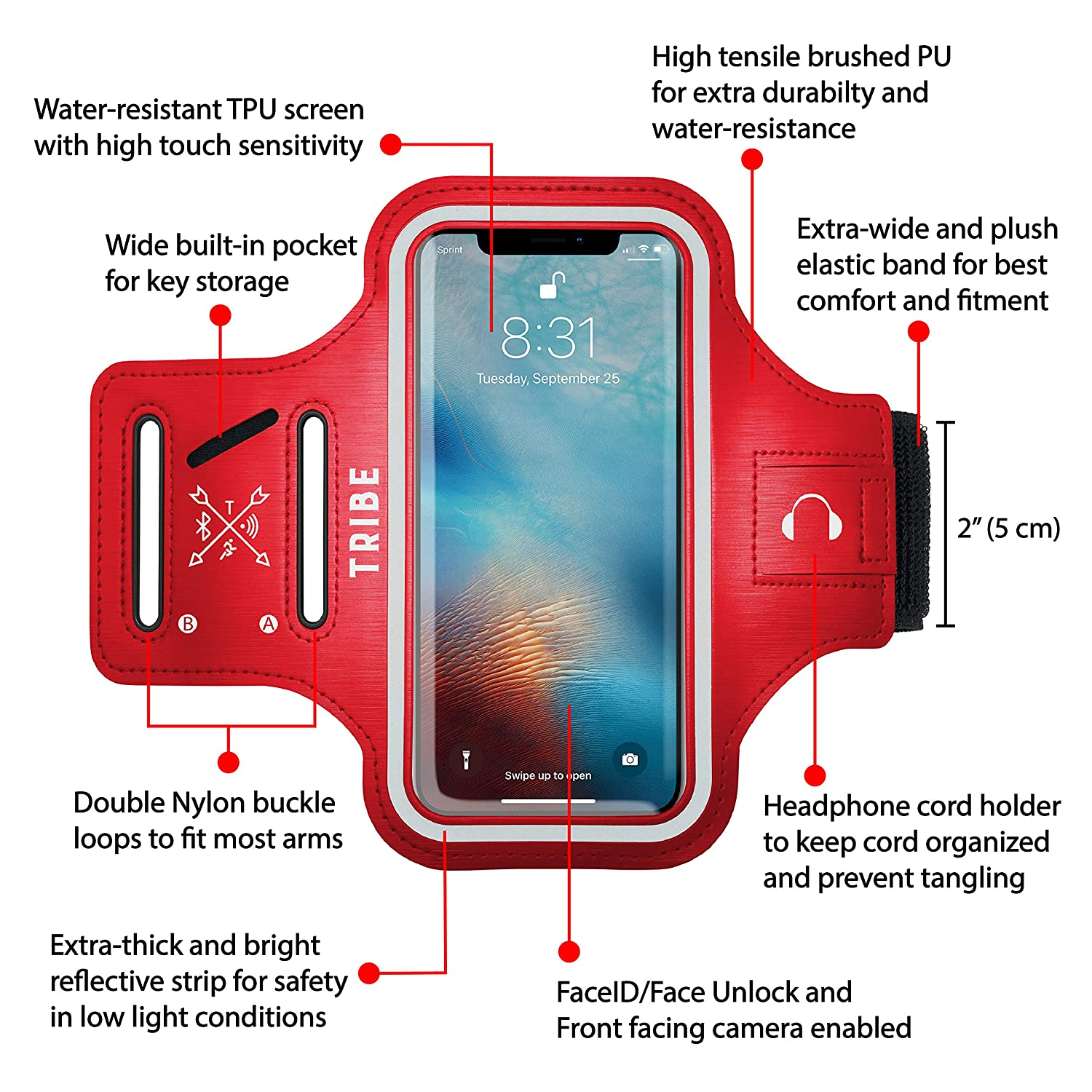 Water Resistant Cell Phone Armband- 5.7 Inch Case for iPhone 7 Plus Grey All Galaxy Note Phones 6//6S Plus PIxel XL Adjustable Reflective Velcro Workout Band /& Screen Protector S7//S6 Edge S8