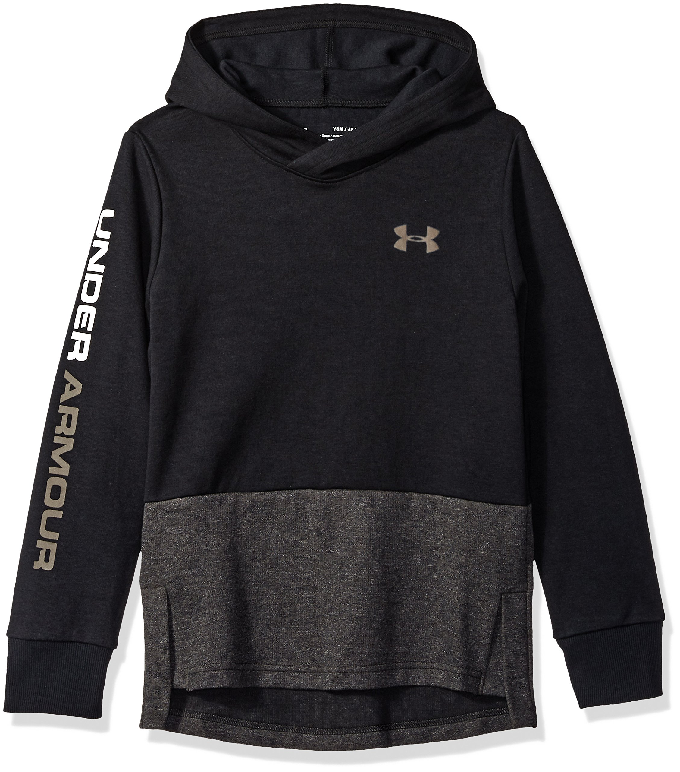 Under Armour Boys Double Knit Hoodie, Black (001)/Fresh Clay, Youth Medium by Under Armour