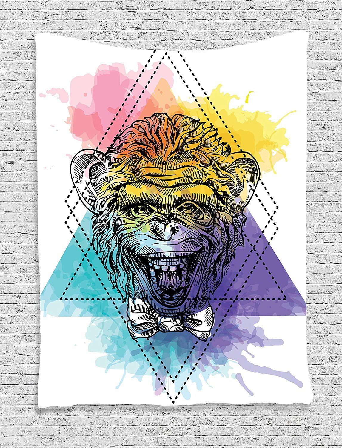 asddcdfdd Sketchy Tapestry, Funny Monkey Animal with a Bowtie on Geometric Artistic Watercolor Style Backdrop, Wall Hanging for Bedroom Living Room Dorm, 60 W X 80 L Inches, Multicolor