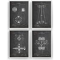 Tesla Poster de Patente - Conjunto de 4 Impresiones - Nikola Tesla Patent Print Póster Con Diseños Patentes Decoración…