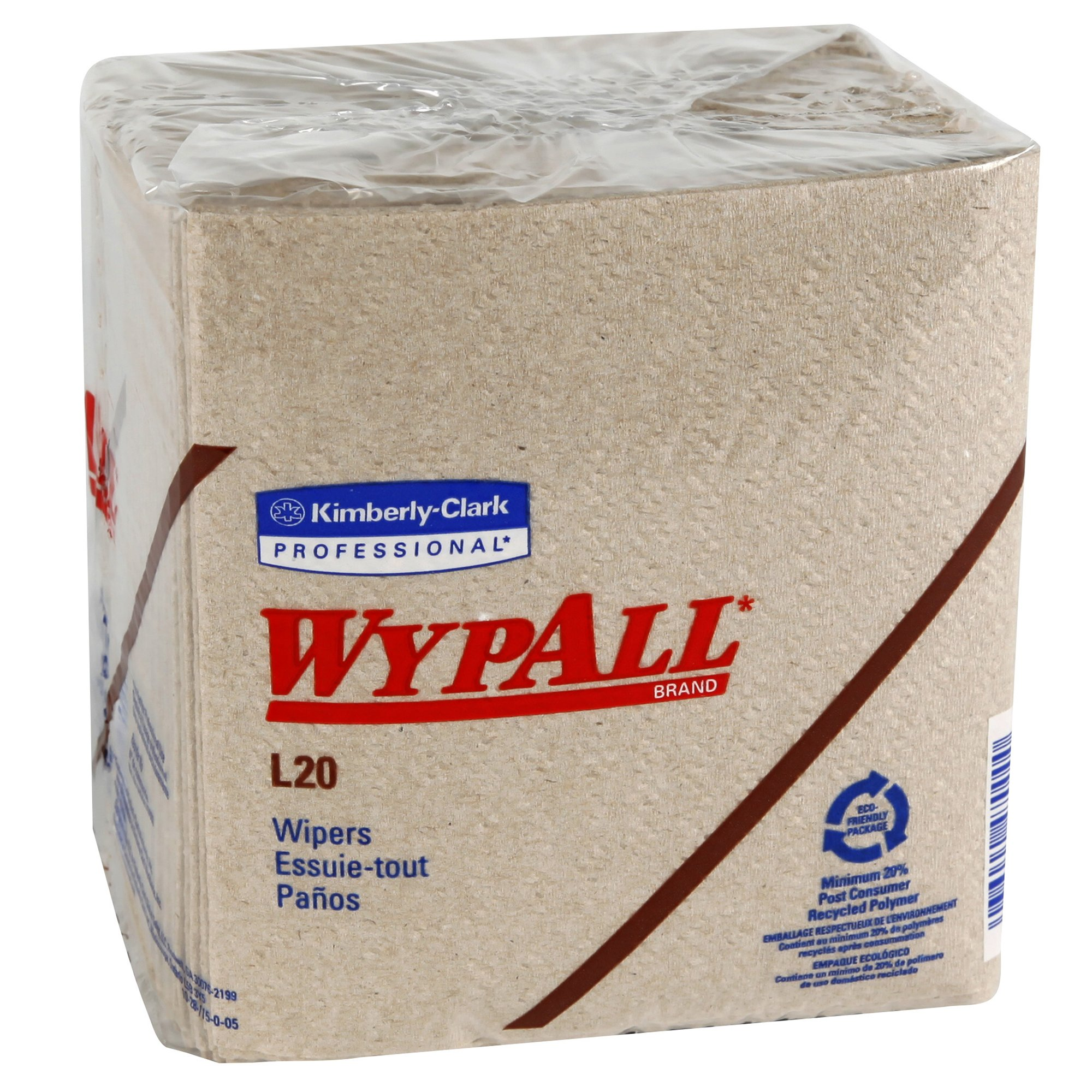 WypAll L20 Limited Use Towels (47000), Quarterfold Format, Tan/Natural, 2-Ply, 12 Packs/Case, 68 Sheets/Pack