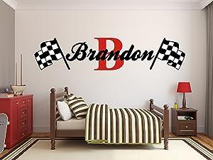 "Custom Name Racing Monogram Wall Decal Boys Nursery Room Vinyl Wall Graphics Bedroom Decor (10"" Tall)"