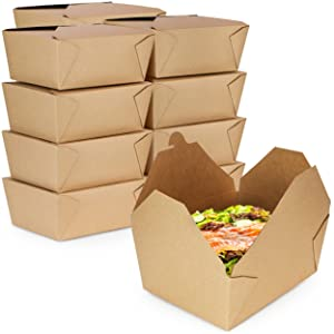 [30 Pack] 110 oz Paper Take Out Containers 8.8 x 6.5 x 3.5