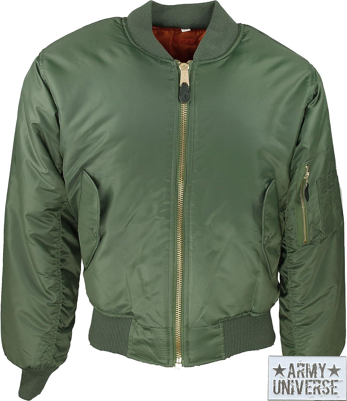 Amazon.com  Air Force MA-1 Flight Jacket with ARMY UNIVERSE® Pin (Sage Green 6dd9c8eb2b2