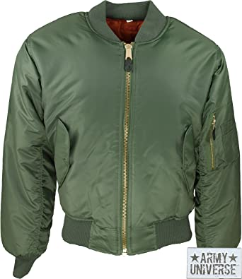 Amazon.com  Air Force MA-1 Flight Jacket with ARMY UNIVERSE® Pin ... 552c629bbc