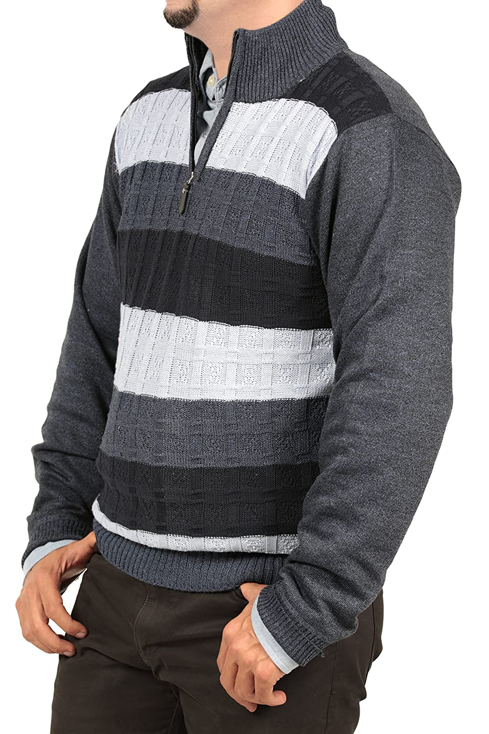 Ingear Half Zip Sweater Casual Soft Long Sleeve Knit Pullover Cardigan Striped