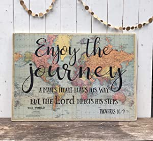 CELYCASY Large Wood Sign with Scripture, Enjoy The Journey Quote, Proverbs 16:9, Vintage map, Bible Verse Sign, Life Adventure, Life is a Journey