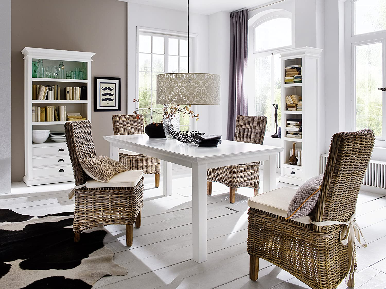 NovaSolo Halifax Pure White Mahogany Wood Dining Table 63 Inches