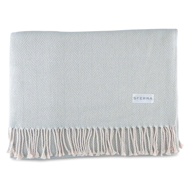 Sferra Celineヘリンボーン、100 %コットンスロー毛布 – シルバーセージ B01JN1FZCE
