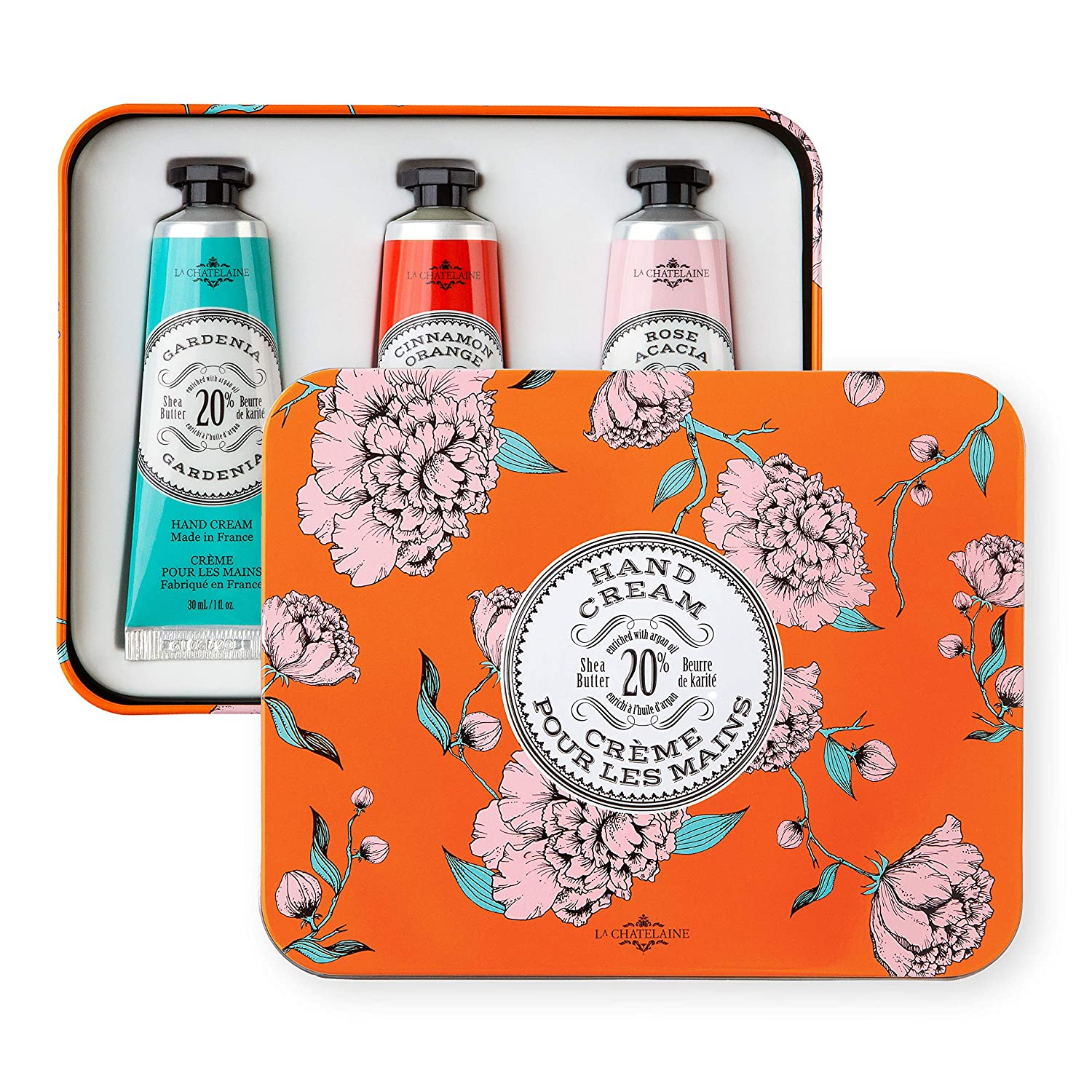 La Chatelaine Deluxe Hand Cream Orange Collection, Set of 3 x 1 Oz: Plant-Based, Made in France with 20% Organic Shea Butter & Organic Argan Oil, featuring Cinnamon Orange, Gardenia, Rose Acacia