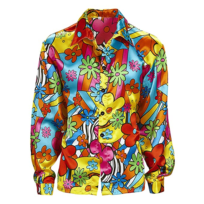 60s -70s  Men's Costumes : Hippie, Disco, Beatles Mens Flower Power Shirt Costume Extra Large UK 46 for 60s 70s Hippy Fancy Dress £17.15 AT vintagedancer.com