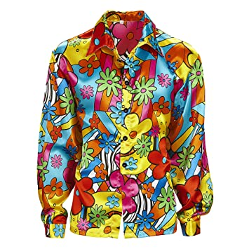 Mens Flower Power Shirt Costume Extra Large Uk 46 For 60s 70s Hippy
