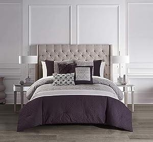 Chic Home Imani 6 Piece Comforter Set Jacquard Geometric Diamond Pattern Color Block Design Bedding - Decorative Pillows Shams Included, Queen, Plum
