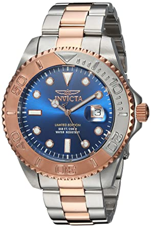 Invicta Mens Pro Diver Quartz Stainless Steel Diving Watch, Color:Two Tone
