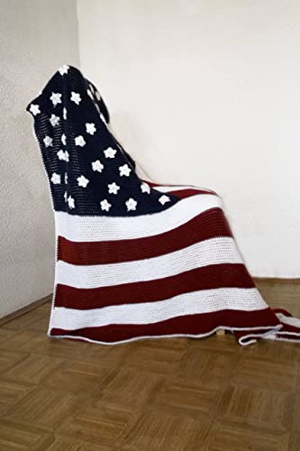 Amazon American Flag Afghan Throw Blanket Crochet Made To