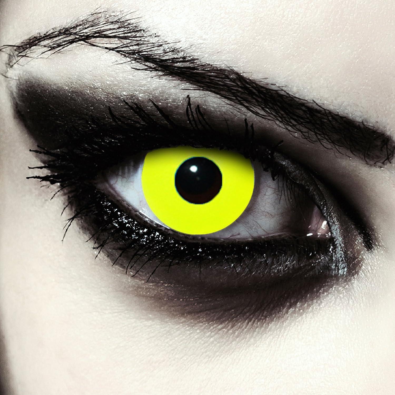"""Lentillas de color amarillo totalmente para Halloween zombie lentillas sin dioprtías/corregir + gratis caso de lente """"Yellow Bigeye"""