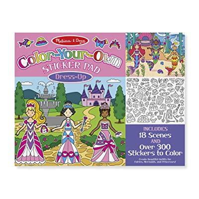 Melissa & Doug Color-Your-Own Sticker Pad – Dress-Up (280+ Stickers to Color, 18 Scenes to Fill): Toys & Games