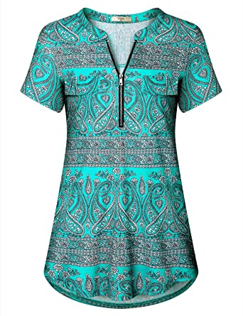 50fb489e826fb3 Luranee Womens Casual Summer Tunic Top Short Sleeve Flowy Loose Zip ...