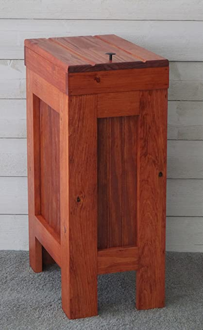 Wood Wooden Trash Bin Kitchen Garbage Can 13 Gallon , Recycle Bin, Dog Food  Storage