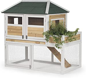 Prevue Pet Products 4701 Chicken Coop with Herb Planter, Natural/White