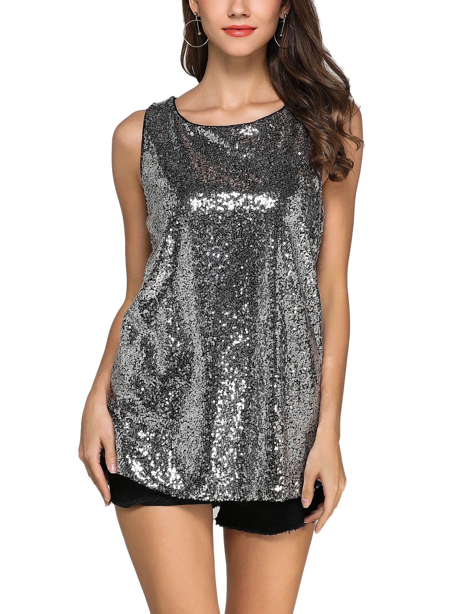 GUANYY Women's Sleeveless Sparkle Shimmer Camisole Vest Sequin Tank Tops (Silver, XX-Large)