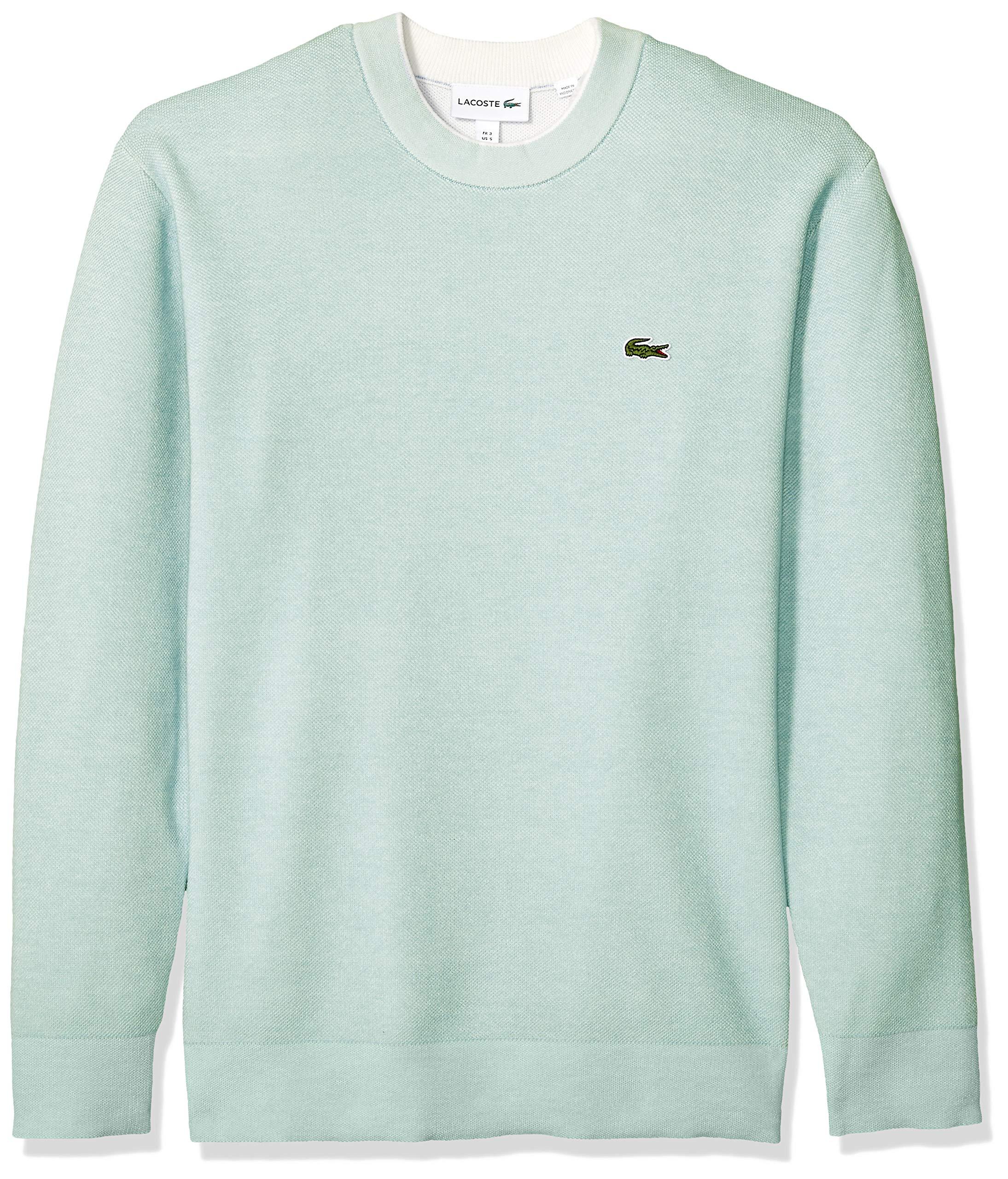 Lacoste Men's Long Sleeve BI-Colour Bird's Eye PIN Striped Sweater, ASPERA/Flour, Medium