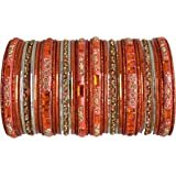 BangleEmporium Paisley Collection: Orange Indian Bangle Set Size X-Small 2.4