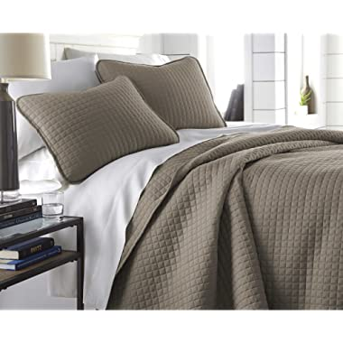 Southshore Fine Linens - Vilano Springs Oversized 3 Piece Quilt Set, Full/Queen, Dark Taupe