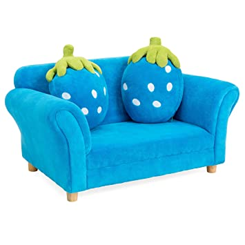 Best Choice Products 34.5in Kids Living Room Armrest Sofa Chair Lounger Set  w/ 2 Berry Cushions, Blue