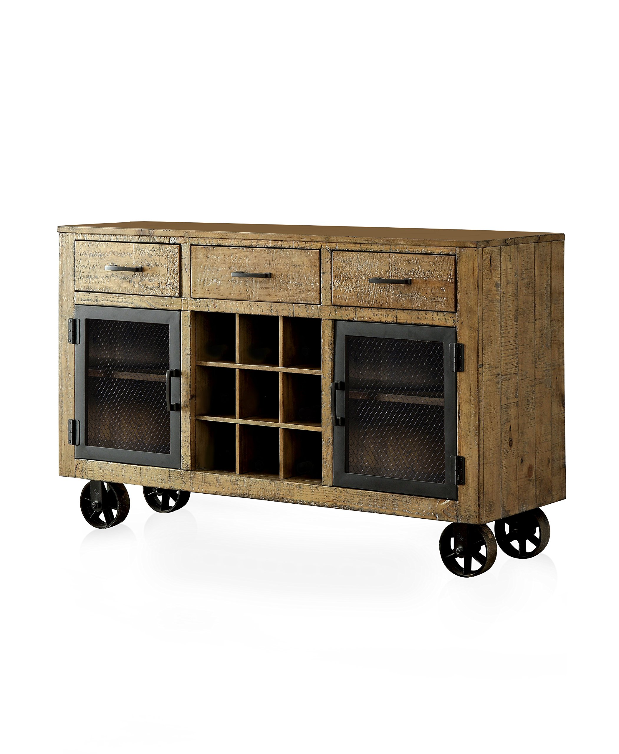 HOMES: Inside + Out ioHOMES Burton Industrial Style Rustic Pin Server, Rustic Pine