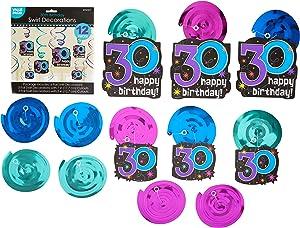 30th Celebration Value Pack Foil Swirl Decorations, Birthday
