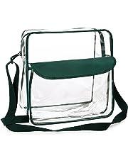 BAGAIL Clear Purse NFL &PGA Approved Cross-Body Shoulder Messenger Bag w Adjustable Strap (Green, 12 * 12 * 6)