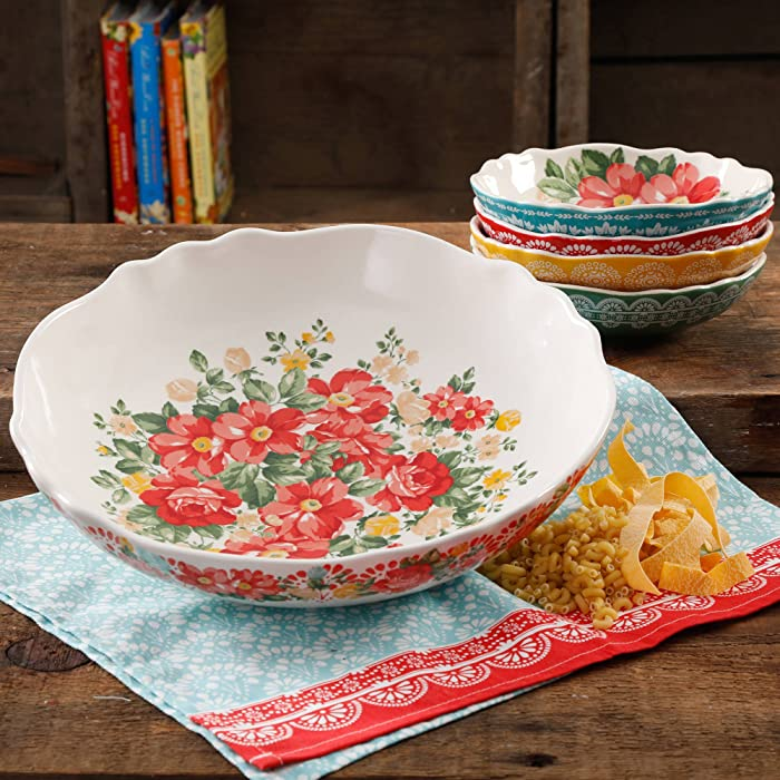 "The Pioneer Woman 13"" Vintage Durable Round White Floral Pasta Stoneware Bowl Set (5 Piece)"