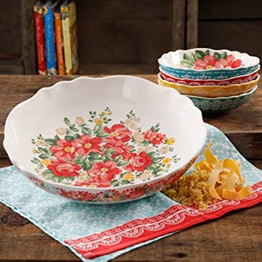 The Pioneer Woman 13  Vintage Durable Round White Floral Pasta Stoneware Bowl Set (5 Piece)