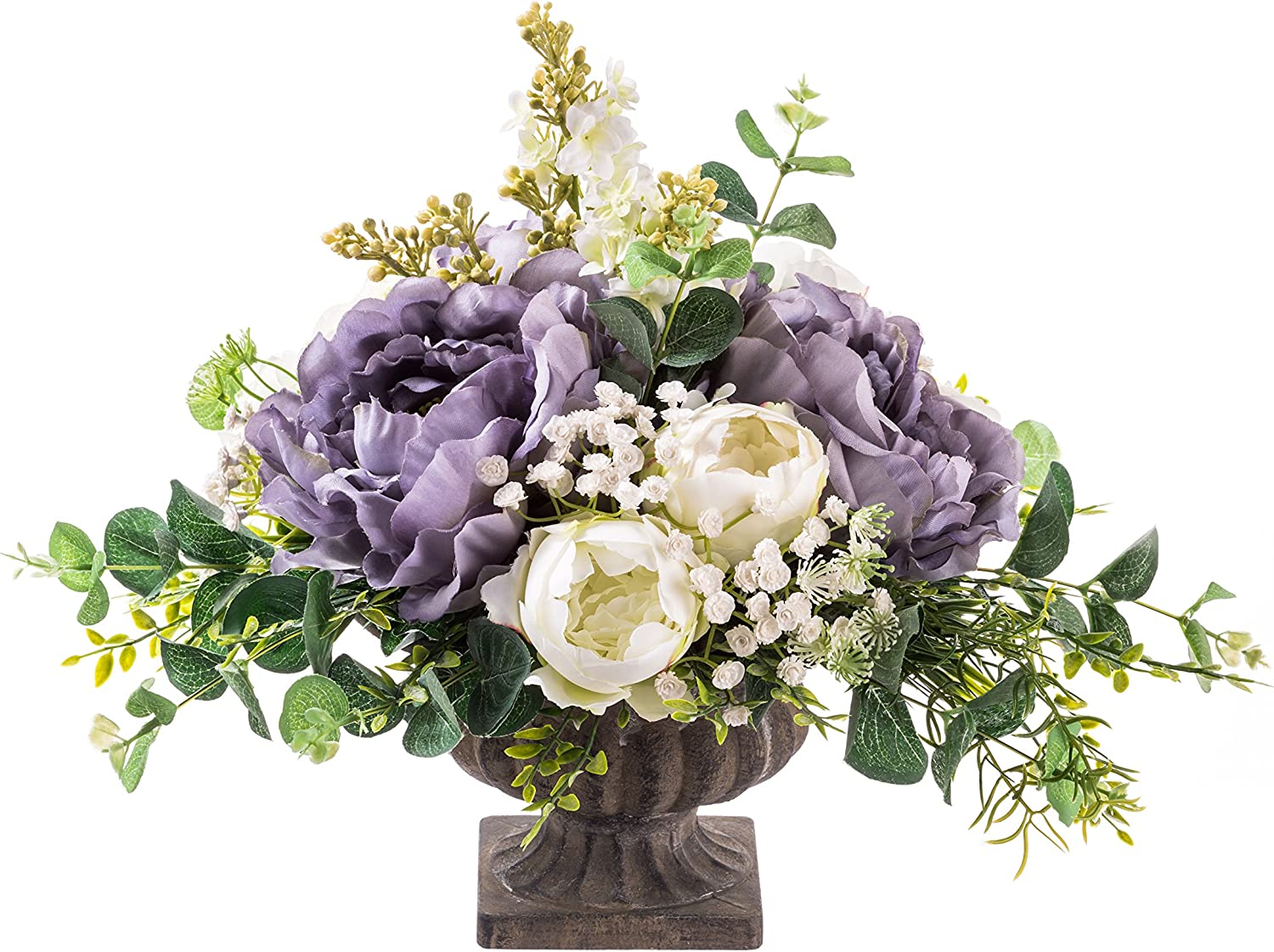 Artificial Flower Faux Flower Arrangement Peonies And Lilacs In An Ancient Vase Classics For Home Decor 30 Cm Amazon Co Uk Kitchen Home