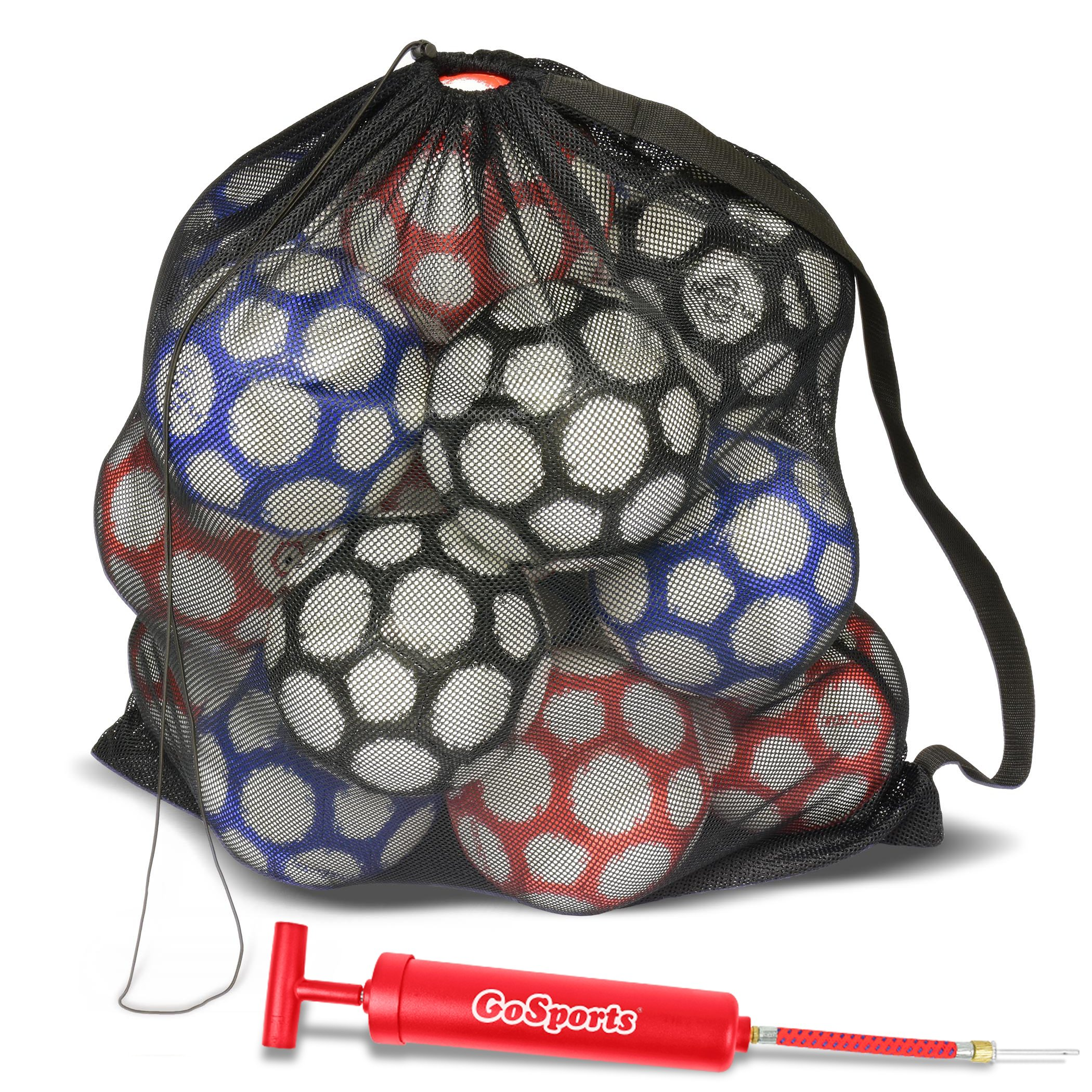GoSports Premium Mesh Ball Bag with Sport Ball Pump, Black, Full Size