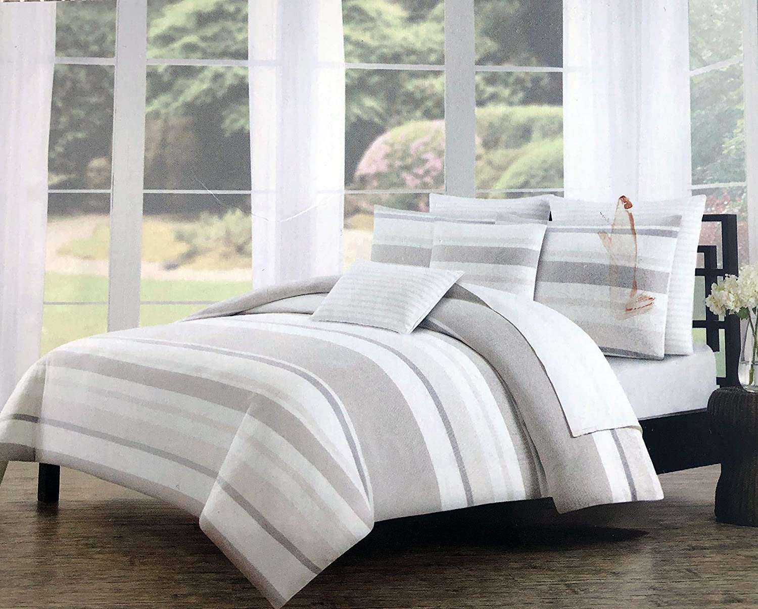 Tahari 3 Pc Duvet Cover Set Wide Horizontal Stripes in Neutral Shades of Cream, Tan and Beige Vintage Style Pattern 100% Cotton Luxury Quilt Comforter Cover (Full/Queen)