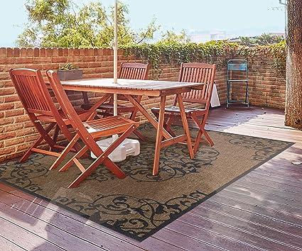 Gertmenian 21584 Space Outdoor Rug Patio Area Carpet 5x7 Standard Medallion Brown